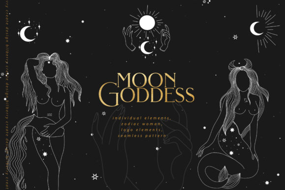 Moon Goddess Art Set Graphic Illustrations By BilberryCreate