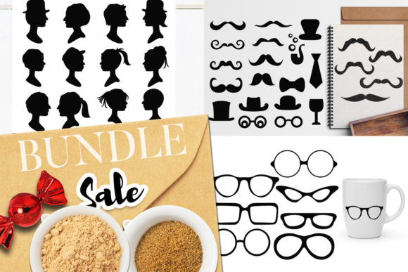Print on Demand: Mustache Glasses Head Bundle Graphic Illustrations By Revidevi