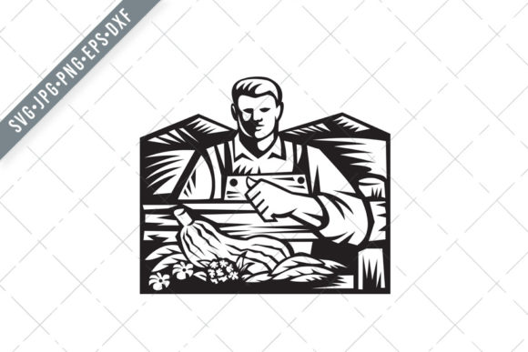 Download Free Organic Farmer With Farm Vegetable Graphic By Patrimonio for Cricut Explore, Silhouette and other cutting machines.