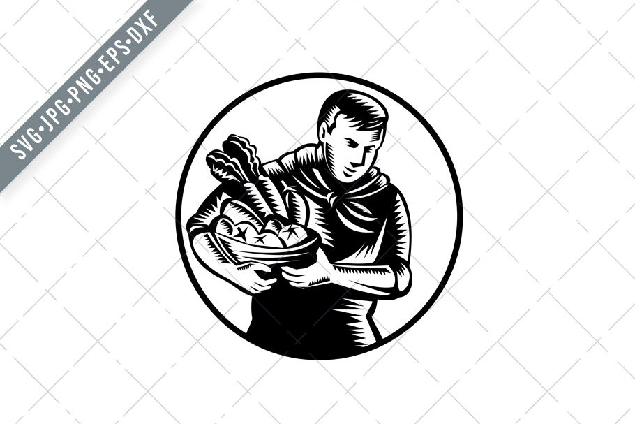 Download Free Organic Farmer With Vegetable Farm Graphic By Patrimonio for Cricut Explore, Silhouette and other cutting machines.