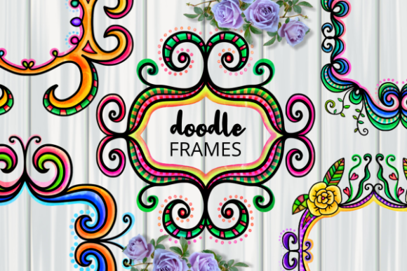 Print on Demand: Ornamental Folk Art Doodle Border Frames Grafik Plotterdateien von Prawny