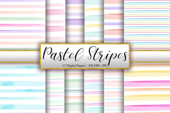 Pastel Stripes Background Digital Papers Graphic Backgrounds By PinkPearly