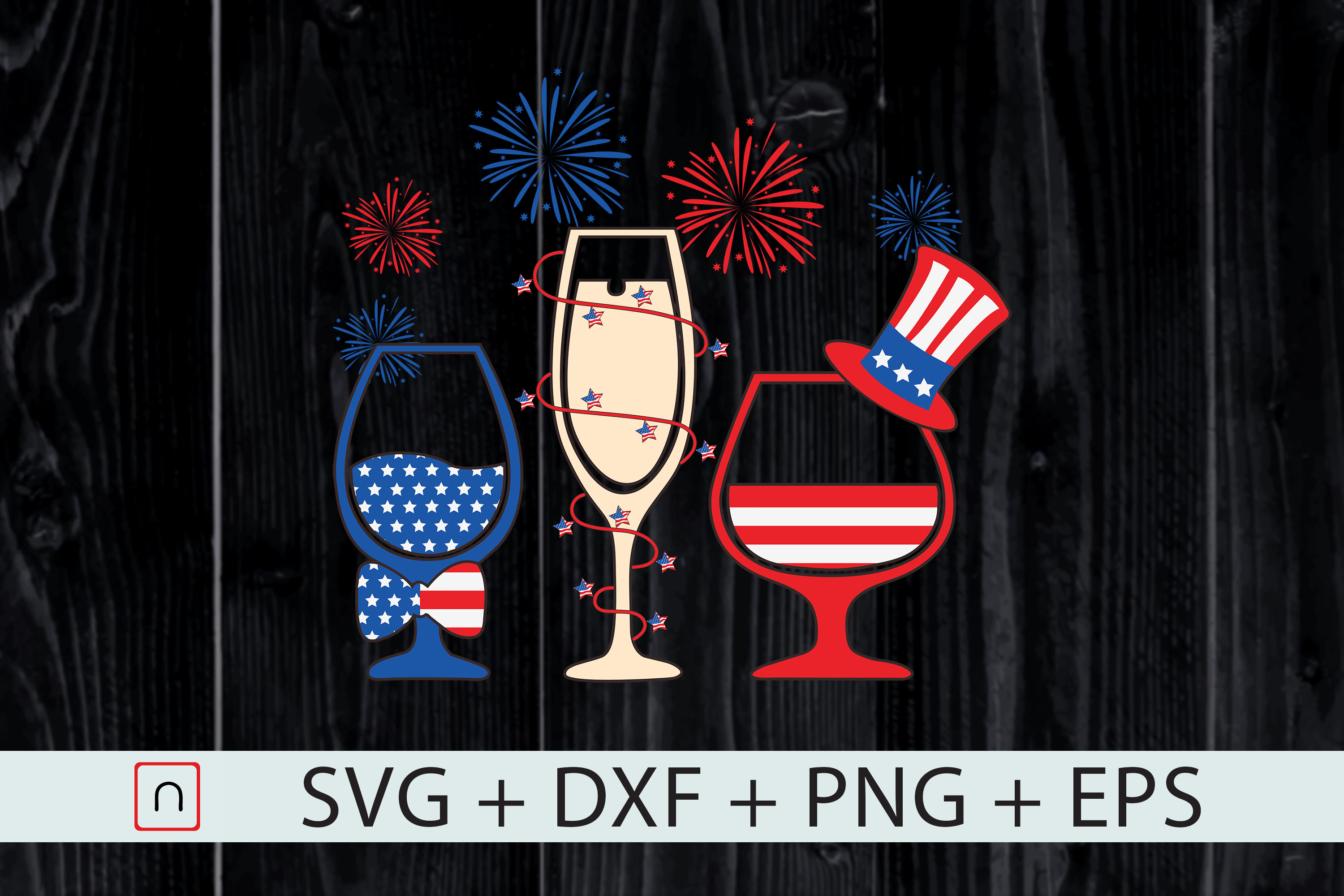 Download Free Patriotic Red White Blue Wine Glasses Graphic By Novalia for Cricut Explore, Silhouette and other cutting machines.