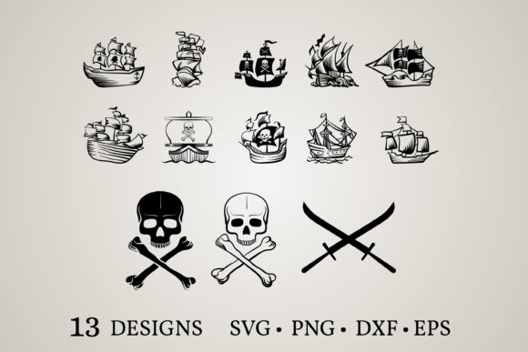 Pirate Ship Bundle Graphic By Euphoria Design Creative Fabrica