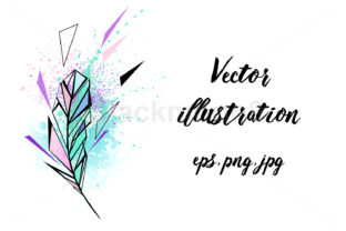 Polygonal Feather with Watercolor Graphic Illustrations By Blackmoon9