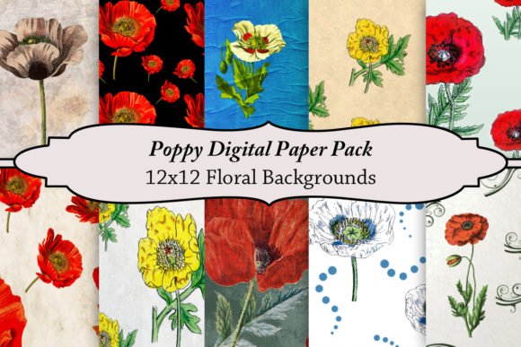 Print on Demand: Poppy Digital Paper Pack Graphic Backgrounds By A Design in Time