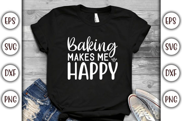 Download Free Potholder Design Baking Makes Me Happy Graphic By Graphicsbooth for Cricut Explore, Silhouette and other cutting machines.