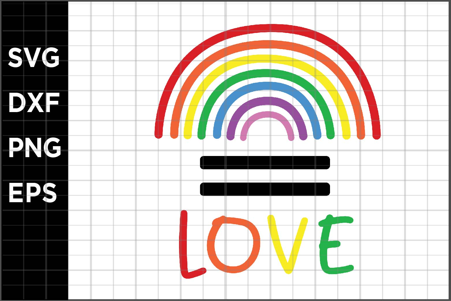 Download Free Pride Equal Love Graphic By Spoonyprint Creative Fabrica for Cricut Explore, Silhouette and other cutting machines.