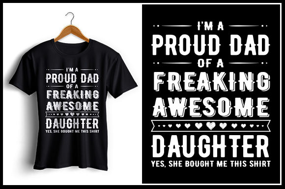 Download Free Proud Dad Daughter T Shirt Design Graphic By Zaibbb for Cricut Explore, Silhouette and other cutting machines.