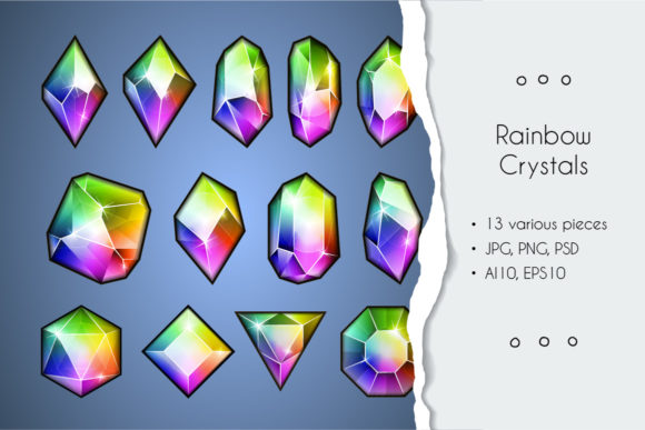Print on Demand: Rainbow Crystal Collection Gráfico Iconos Por Drekhann