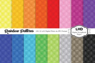 Rainbow Patterns Digital Backgrounds Graphic Patterns By LeskaHamatyDesign