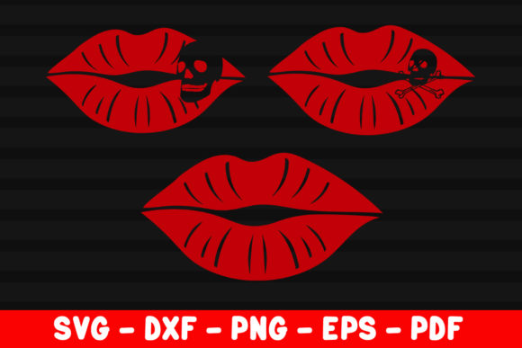 Download Free Red Lips With Skull Poisoned Kisses Graphic By Creativeshohor for Cricut Explore, Silhouette and other cutting machines.