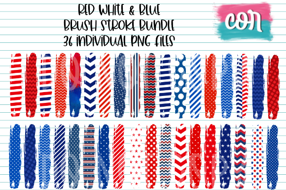 Print on Demand: Red White & Blue Brush Stroke Bundle Graphic Crafts By designscor