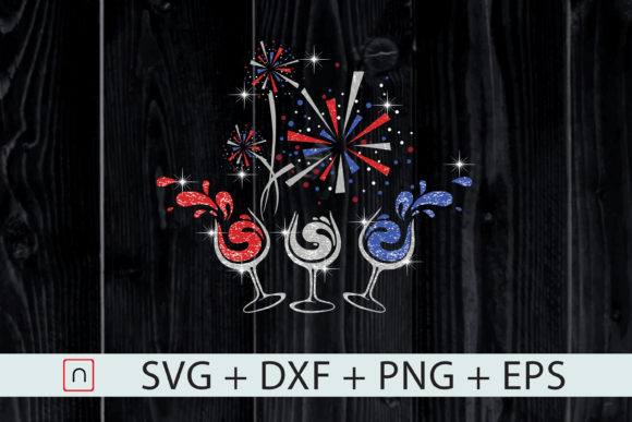 Download Free Red White Blue Wine Glasses 4th Of July Graphic By Novalia for Cricut Explore, Silhouette and other cutting machines.