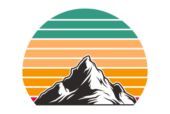 Print on Demand: Retro Mountain Sunset   Graphic Illustrations By SunandMoon