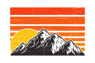 Print on Demand: Retro Vintage Sunset with Mountain Graphic Illustrations By SunandMoon