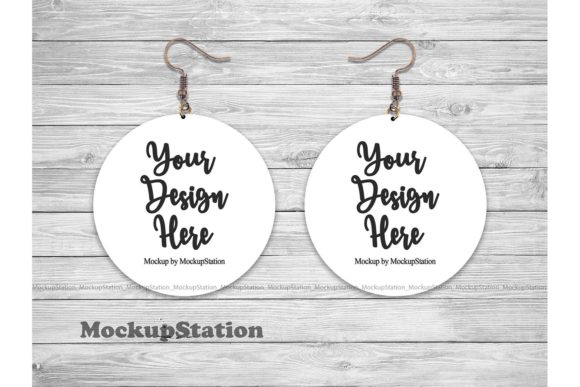Download Free Round Sublimation Earring Mockup Graphic By Mockup Station for Cricut Explore, Silhouette and other cutting machines.