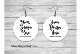 Print on Demand: Round Sublimation Earring Mockup  Graphic Product Mockups By Mockup Station