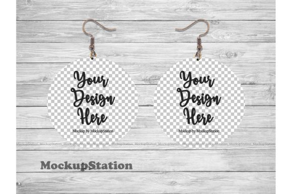Print on Demand: Round Sublimation Earring Mockup  Graphic Product Mockups By Mockup Station - Image 2