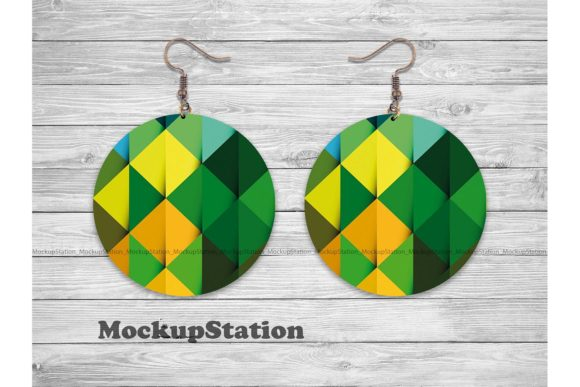 Print on Demand: Round Sublimation Earring Mockup  Graphic Product Mockups By Mockup Station - Image 3