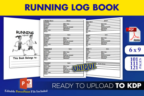 Running Log Book Jogging | KDP Interior Graphic KDP Interiors By Beast Designer