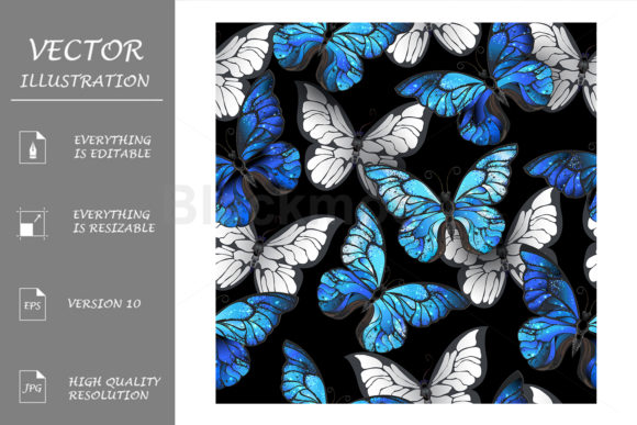 Seamless Pattern with Blue Butterflies Gráfico Moldes Por Blackmoon9