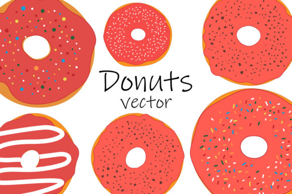 Set Red Donuts with Chocolate Vector Graphic Illustrations By shishkovaiv