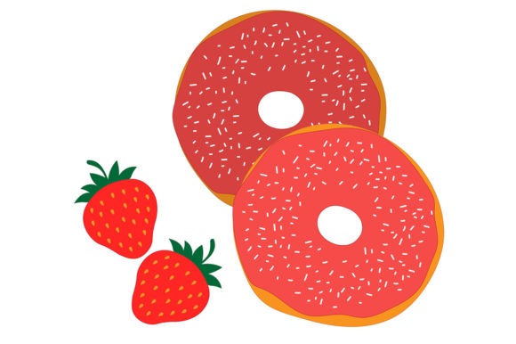 Download Free Set Red Donuts With Chocolate Vector Graphic By Shishkovaiv for Cricut Explore, Silhouette and other cutting machines.