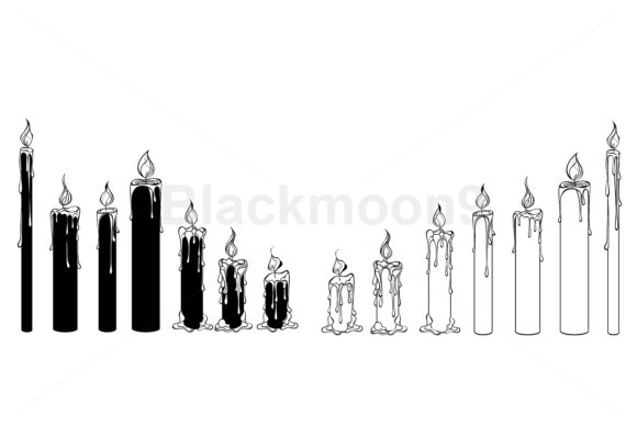Download Free Silhouette Candles Graphic By Blackmoon9 Creative Fabrica for Cricut Explore, Silhouette and other cutting machines.
