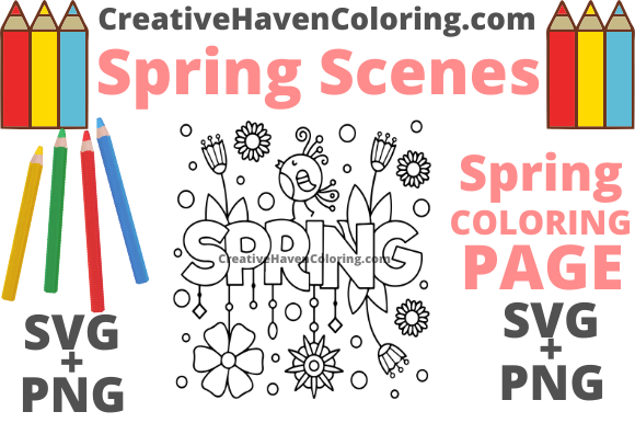 Download Free Spring Coloring Page 1 Graphic By Creativehavencoloring for Cricut Explore, Silhouette and other cutting machines.