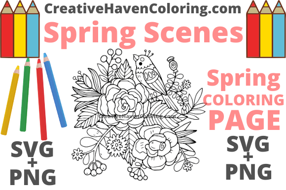 Print on Demand: Spring Coloring Page #11 Graphic Coloring Pages & Books Adults By creativehavencoloring