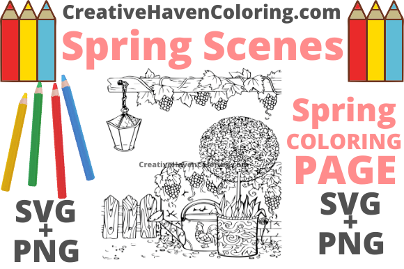 Download Free Spring Coloring Page 12 Graphic By Creativehavencoloring for Cricut Explore, Silhouette and other cutting machines.