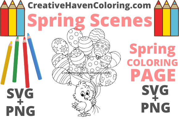 Download Free Spring Coloring Page 14 Graphic By Creativehavencoloring for Cricut Explore, Silhouette and other cutting machines.