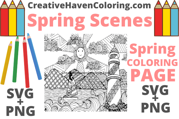 Print on Demand: Spring Coloring Page #16 Graphic Coloring Pages & Books Adults By creativehavencoloring