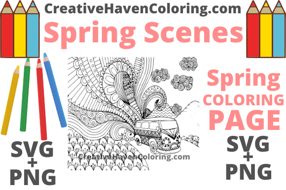 Print on Demand: Spring Coloring Page #2 Graphic Coloring Pages & Books Adults By creativehavencoloring