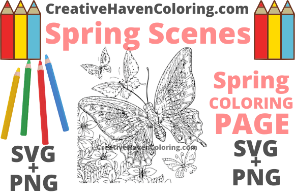 Print on Demand: Spring Coloring Page #3 Graphic Coloring Pages & Books Adults By creativehavencoloring
