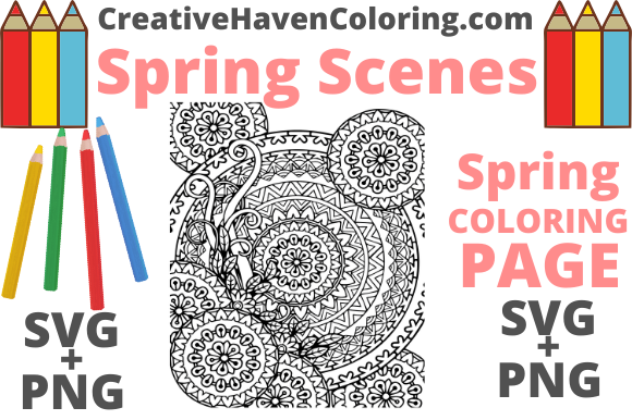 Download Free Spring Coloring Page 16 Graphic By Creativehavencoloring for Cricut Explore, Silhouette and other cutting machines.