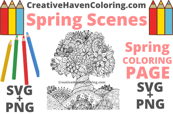 Print on Demand: Spring Coloring Page #6 Graphic Coloring Pages & Books Adults By creativehavencoloring