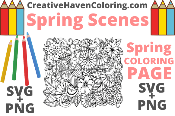 Print on Demand: Spring Coloring Page #8 Graphic Coloring Pages & Books Adults By creativehavencoloring