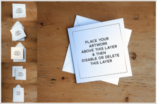 Print on Demand: Square Card Mock Up for Photoshop Graphic Product Mockups By gentlemancrafter