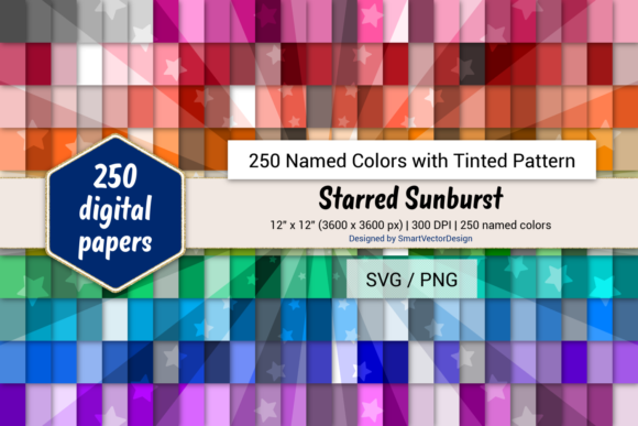 Download Free Starred Sunburst Digital Paper 250 Colors Graphic By for Cricut Explore, Silhouette and other cutting machines.