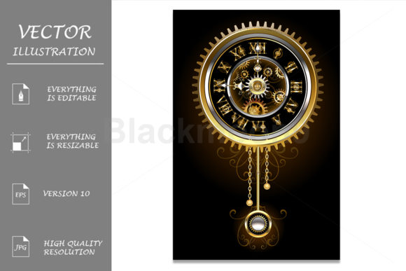 Steampunk Clock with Pendulum Graphic Illustrations By Blackmoon9