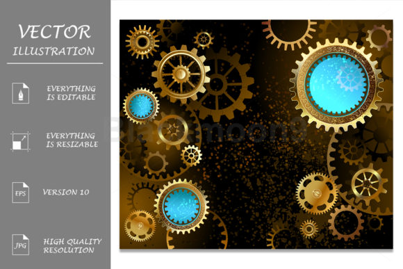 Steampunk Dark Background with Gears Graphic Backgrounds By Blackmoon9