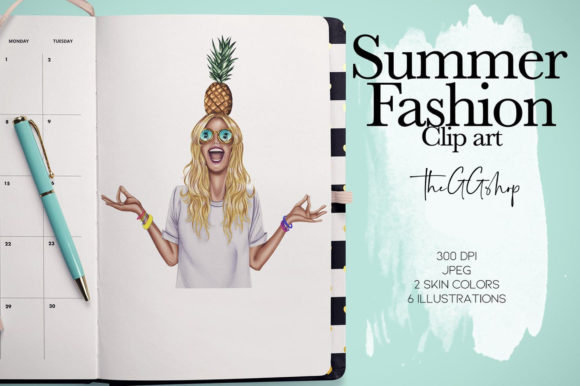 Print on Demand: Summer Girls Cliparts Graphic Illustrations By TheGGShop