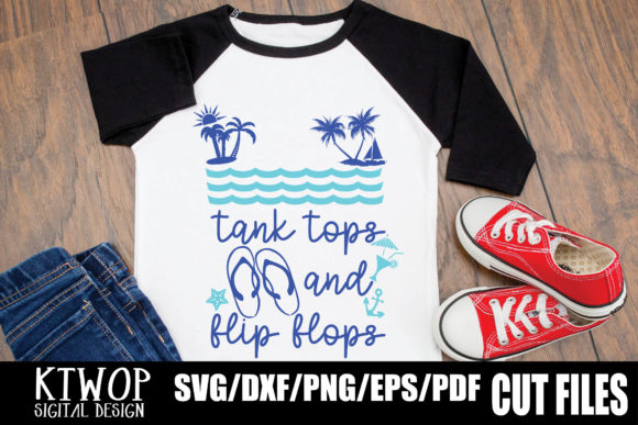 Download Free Tank Tops And Flip Flops Graphic By Ktwop Creative Fabrica for Cricut Explore, Silhouette and other cutting machines.