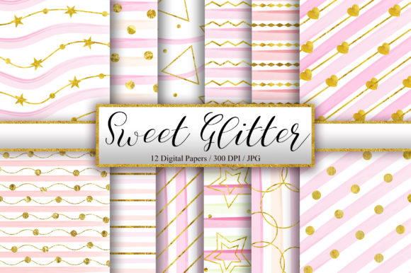 Sweet Gold Glitter Background Graphic Backgrounds By PinkPearly