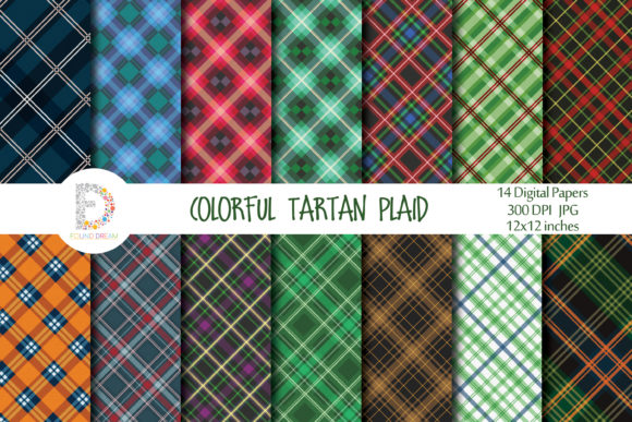 Print on Demand: Tartan Plaid Digital Papers Graphic Patterns By FounDream