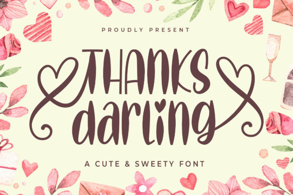 Download Free Thanks Darling Font By Letter Battoyart Creative Fabrica for Cricut Explore, Silhouette and other cutting machines.