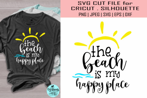 Download Free The Beach Is My Happy Place Graphic By Midmagart Creative Fabrica for Cricut Explore, Silhouette and other cutting machines.