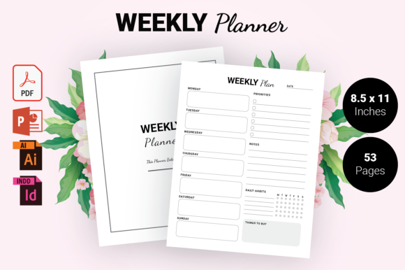 Print on Demand: KDP Interior - Weekly Planner Gráfico Páginas KDP Por KDP Ninja